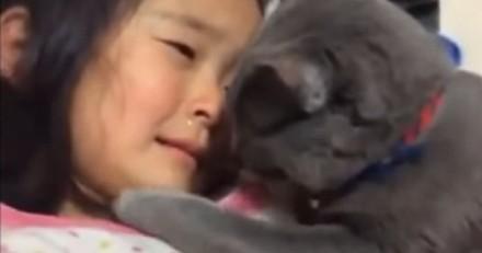 Un chaton réconforte une petite fille en train de pleurer à chaudes larmes : la vidéo inoubliable