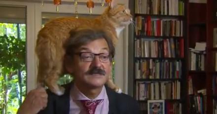 Interviewé à la télé, un historien essaie de garder son sérieux quand son chat vient lui voler la vedette (Vidéo)