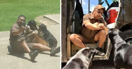 Ce livreur UPS s'arrête toujours pour faire des selfies avec des chiens !