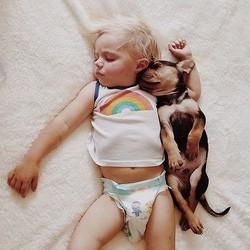 un enfant et un chiot inséparabless