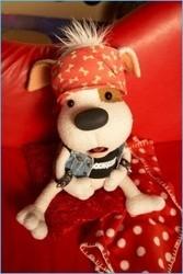 peluche de chien rock star