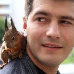 un bébé écureuil sauvé par un soldat