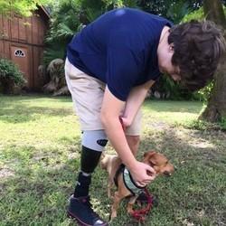 un ado amputé et son chien à 3 pattes
