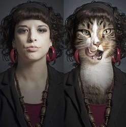 des chats et humains fuisonnés