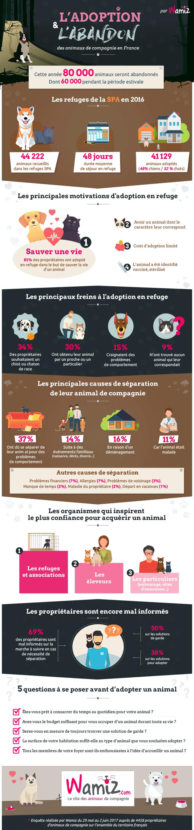 Enquête : Wamiz dresse un état des lieux de l'abandon et de l'adoption en France en 2017