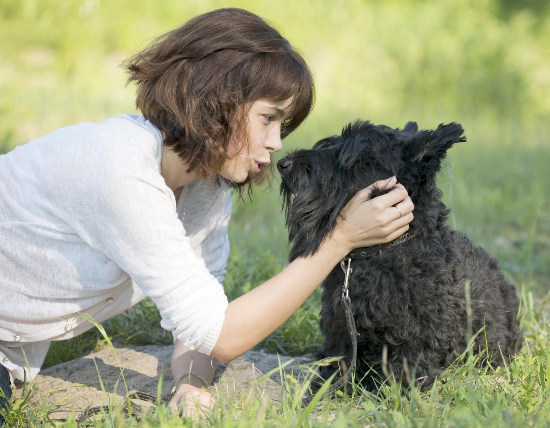 maitresse parle à son chien