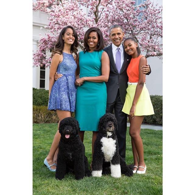 sunny et bo avec la famille Obama