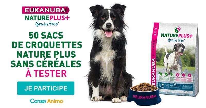 Testez les croquettes Nature Plus+ sans céréales pour chien de Eukanuba !