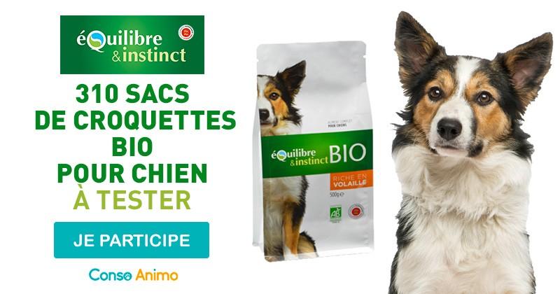 Testez les croquettes bio pour chien Equilibre & Instinct !