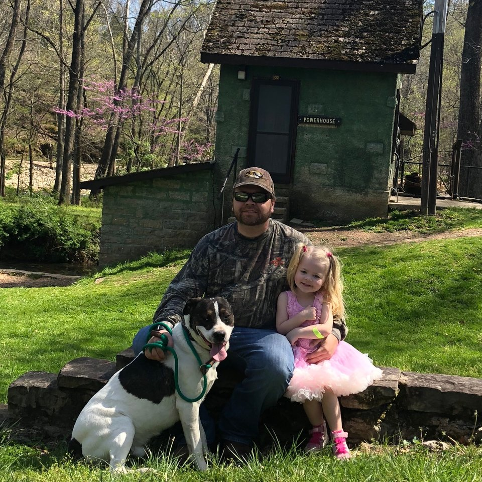 chien heureux jardin famille
