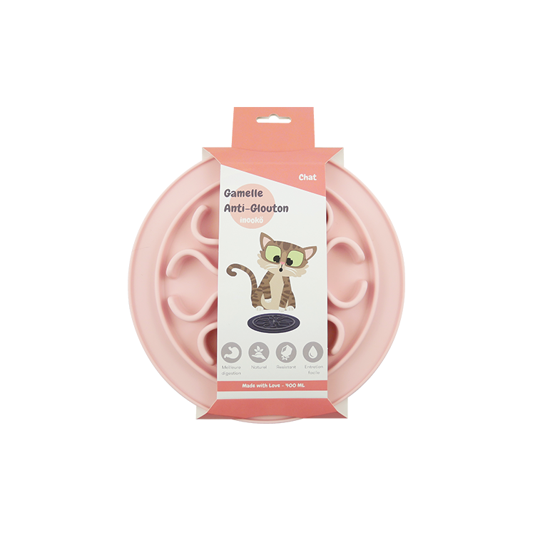 gamelle chat glouton rose